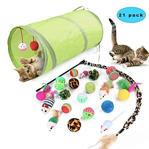 Sunshine smile katzenspielzeug Set mit katzentunnel,Katzenspielzeug Set mit Bälle Federspielzeug,katzenspielzeug Pack…
