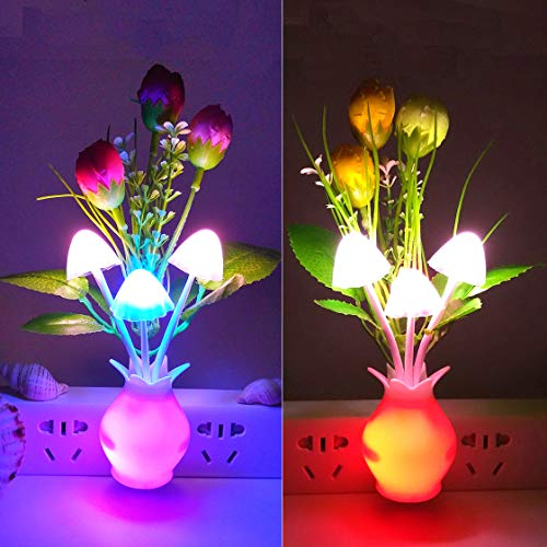 Warmstor 2 PCS Night light, Tulip Plug In Color Changing LED Mushroom Nightlight Wall Lights Little Decor Lamp