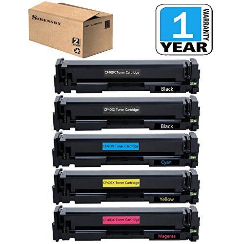 201X Toner Set of 5 Pack Compatible for CF400X CF401X CF402X CF403X Toner Cartridge, use in HP Color LaserJet M252 Pro M252 M252DW Pro M252DW, M277 M277DW Pro MFP M277 Pro MFP M277DW, Sirensky by Sirensky