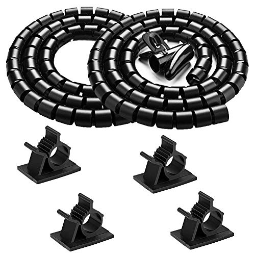Black Computer Cable Management Wire Cover Electrical Cord Hider Solutions 2 PCS, VIWIEU Tangle Free Sprial Cable Zipper Tube with 4 Adhesive Cable Clamps for TV Laptop Floor Home & Office ()