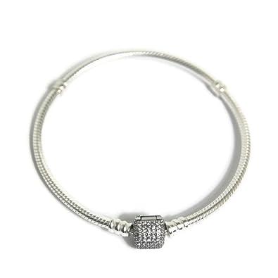 a11e57256 Amazon.com: Pandora Silver Bracelet with Signature Clasp 590723CZ17: Jewelry
