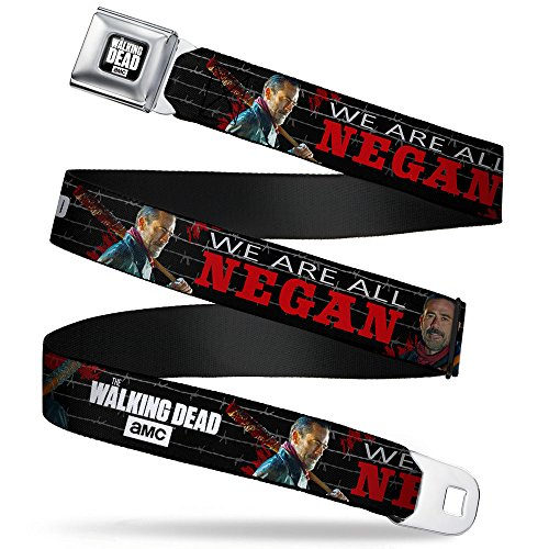 Buckle-Down Seatbelt Belt - THE WALKING DEAD Negan 2-Poses/WE ARE ALL NEGAN/Barbed Wire Black/Grays/Red/White - 1.5