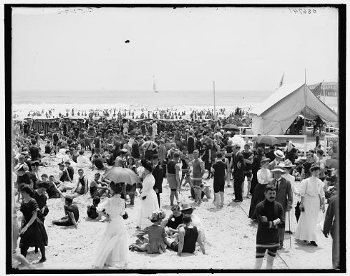 Photo: Bathing hour,beaches,crowds,tents,shore,swimmer,Atlantic City,New - Jersey Shore Store Hours