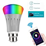 Smart LED Bulb Alexa, Google Home : WIFI Hue Light, B22 RGBW Colour Changing 60W Equivalent, Timing Function, Remote Controlled by IOS/Android Devices, No Hub Required