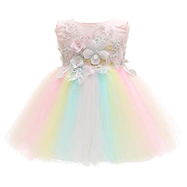 0487b42b20e23 Meiqiduo Baby Girls Dress Colorful Rainbow Infant Christening Birthday  Wedding Bridesmaid Party Lace Tulle Flower Dresses