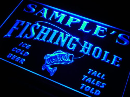 qx029-b Larry's Fishing Hole Fly Game Room Beer Bar Neon Light Sign