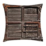 Ambesonne Rustic Throw Pillow Cushion Cover, Vintage Wooden Italian Countryside Cottage Door Row Structured Region Style Picture, Decorative Square Accent Pillow Case, 18 X18 Inches, Umber Brown