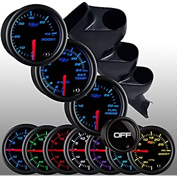 amazon com glowshift diesel gauge package for 2000 2006 chevy duramax fuel line diagram glowshift diesel gauge package for 2000 2006 chevy silverado duramax tinted 7 color 60 psi boost, 2400 egt & 30 psi fuel pressure gauges