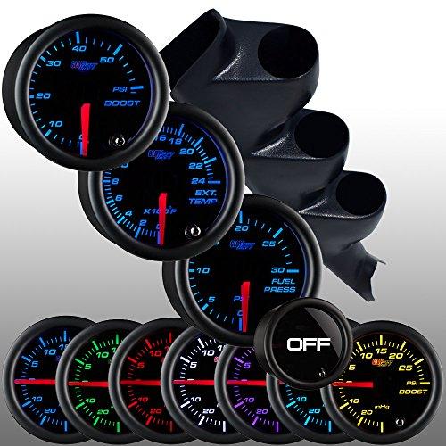 GlowShift 00-06 GMC Sierra Diesel Gauge Package w/ Tinted 7 Color 60 PSI Boost, 2400 EGT & 30 PSI Fuel Pressure Gauges