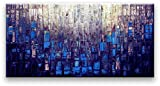 Matthew's Art Gallery 30-Inch-by-60-Inch Abstract Canvas Oil Painting - Blue