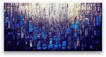 Matthew s Art Gallery 30-Inch-by-60-Inch Abstract Canvas Oil Painting – Blue