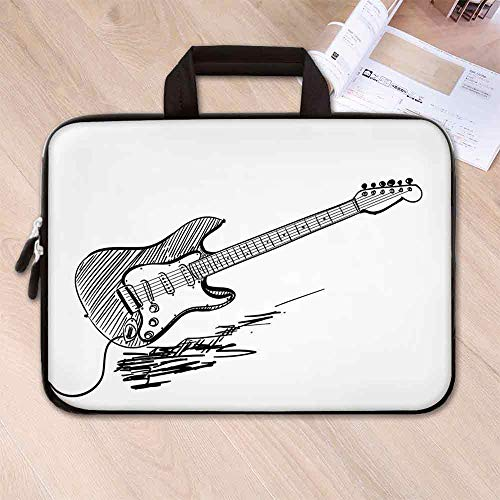 Guitar Neoprene Laptop Bag,Hand Drawn Style Electric Guitar on White Backdrop Rock Music Accords Sketch Art Decorative for Business Casual or School,8.7''L x 11''W x 0.8''H
