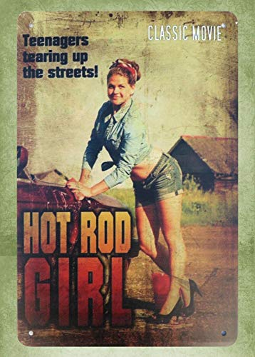 QDTrade Metal Sign 16 x 12inch - Art Decor Teenagers Tearing up Streets Hot Rod Girl Vintage Look tin Sign Wall Decoration Bar Cafe Home Decor