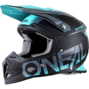 ONeal 5 SRS Mens Off-Road Blocker Helmet (Black/Teal, Large)