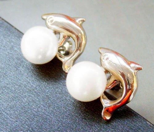 Gozebra(TM) Pair Of White Freshwater Pearl Alloy Metal Dolphin Ear-Nails Earrings - Dolphins Pearl Earrings