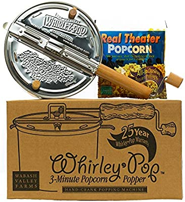Whirley Pop Stainless Steel Stovetop Popcorn Popper Popcorn Set with Pop..
