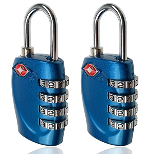 TSA Luggage Locks, 4 Digit Combination Steel Padlocks, Approved Travel Lock for Suitcases & Baggage (2 Pack) by Muatoo
