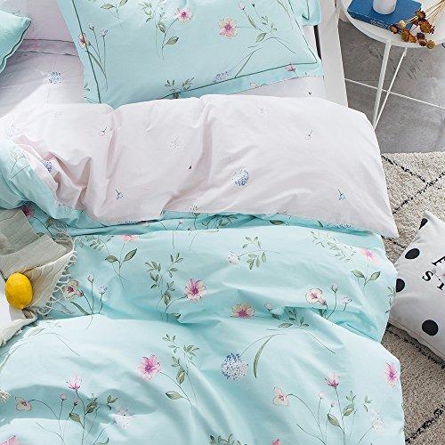 OTOB Floral Bedding Duvet Cover Queen Set for Teen Kids Girl Flower Print Bedding Sets Full Size Cotton 100 Blue, Reversible Lightweight Soft by OTOB (Image #5)