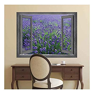 Open Window Creative Wall Decor - Gorgeous View onto a Lavendar Field - Wall Mural, Removable Sticker, Home Decor - 24x32 inches