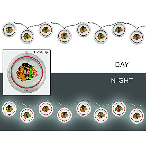 Team Sports America Chicago Blackhawks Outdoor Safe Battery Powered String Light Set