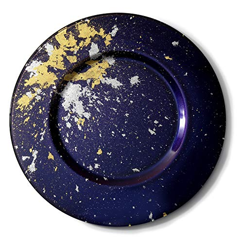 Syosaku Japan Urushi Glass Charger Plate-L Φ13.9-inch Majestic Blue with Gold Leaf, Dishwasher Safe