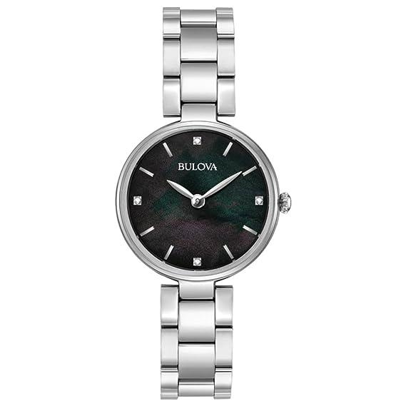 Bulova Diamond 96S173 - Reloj de Pulsera de Diseño para Mujer - Acero  Inoxidable - Esfera Negra de Nácar  Amazon.es  Relojes 780dabcd3915
