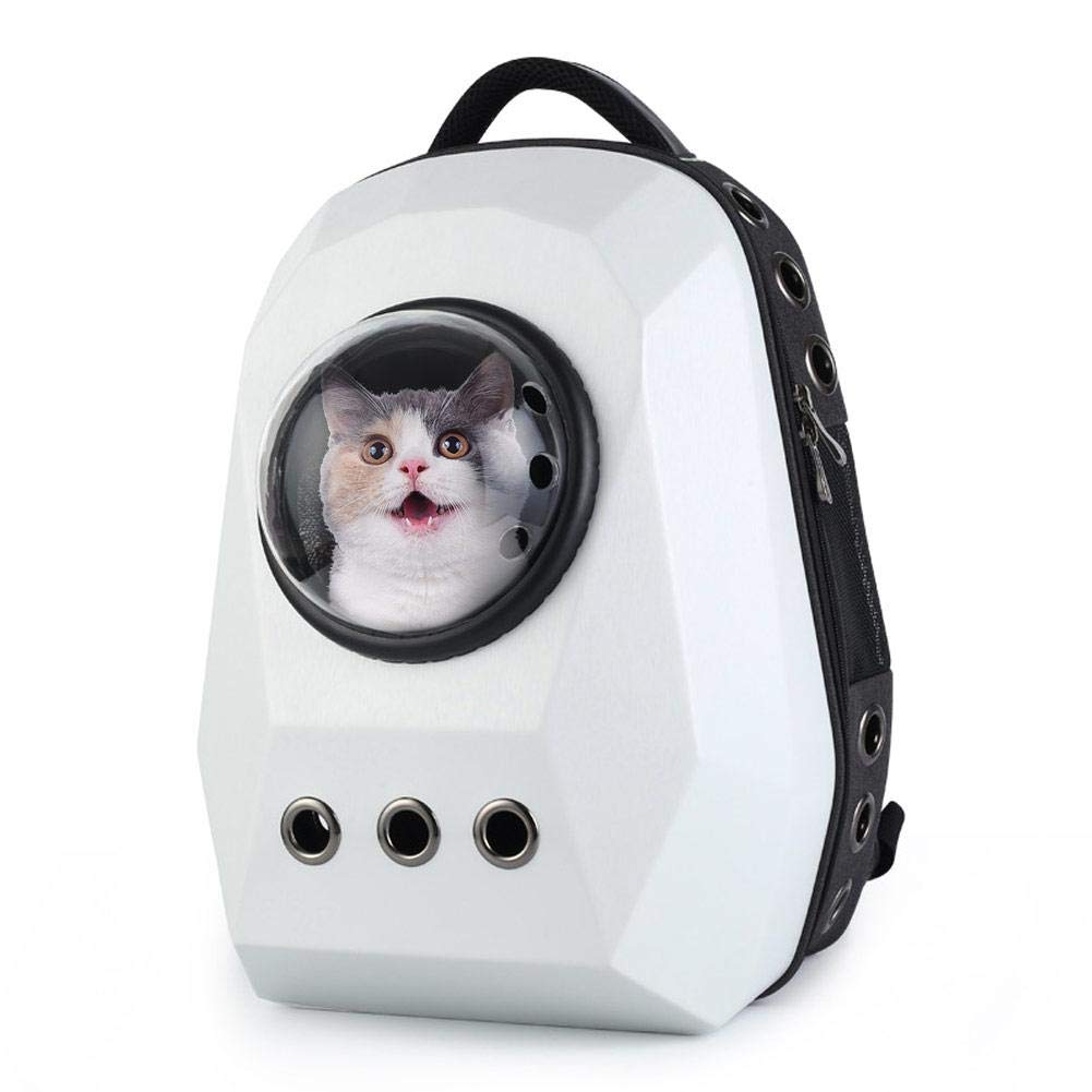 White sroomcla Pet Backpack Pet Backpack Space Capsule Pet Backpack With Ventilated Design Outdoor Diamond Breathable Portable Space Capsule.