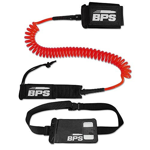storm-premium-sup-leash-10-foot-coiled-w-waterproof-wallet-by-bps-red