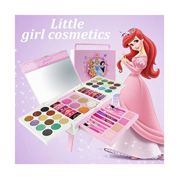 580f28664677 Disney 56pcs Princess Cosmetics Play Set with Mirror | Washable & Non Toxic  | Princess Real Makeup Kit with Case | Ideal Gift for Kids