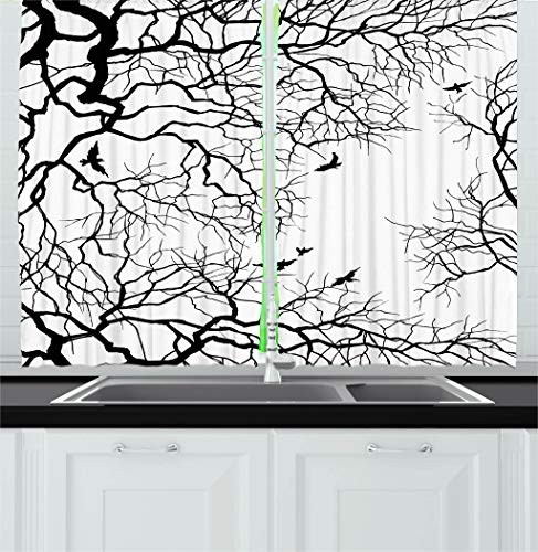 Ambesonne Nature Decor Kitchen Curtains, Birds Flying Over T