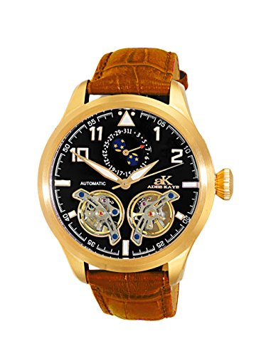 Adee Kaye Men's Stainless Steel and Leather Automatic Watch, Color Champagne (Model: AK5663-MGBK)