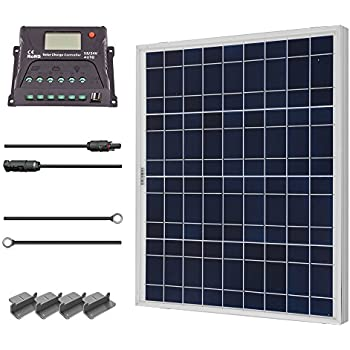 Renogy 50 Watts 12 Volts Polycrystalline Solar Starter Kit with 10Amp PWM Charge Controller,  Z brackets for RVs, Trailers, Boats, Sheds, and Cabins