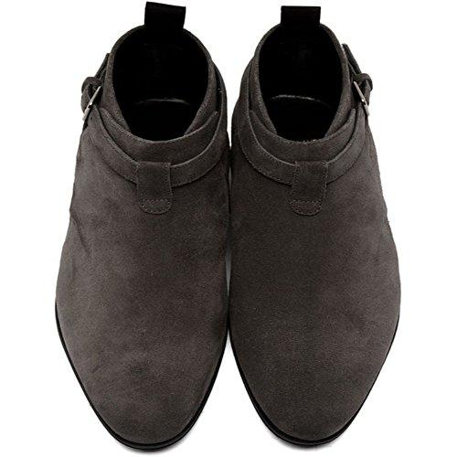 Jinfu Chelsea Boots Uomo Camoscio Grigio Casual Casual Stivaletti Scarpe Formali (us 7)