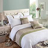 OSVINO Natural Modern Linen Bed End Scarf Runner Protector No Fading Soft, Green 210X50cm for 150cm Bed