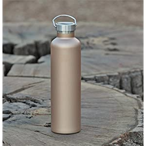 MIRA 34 oz Stainless Steel Vacuum Insulated Water Bottle | Thermos Keeps Your Drink Cold for 24 hours & Hot for 12 hours, Doesn't Sweat | Large Sports Flask with 2 Lids | 1 liter Champagne