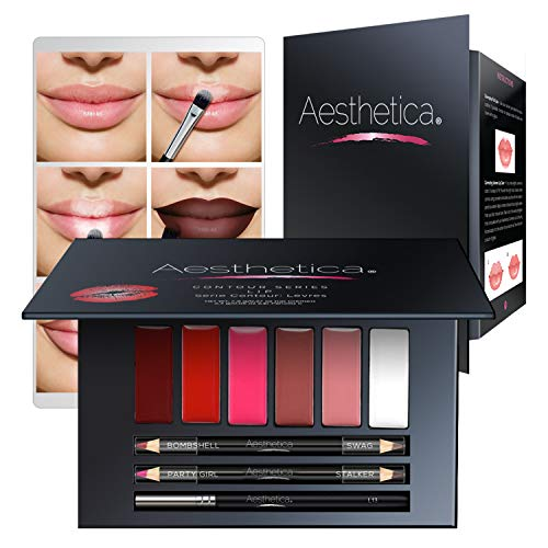 Aesthetica Cosmetics Lip Contour Kit Cream Contouring And Highlighting Lipstick Palette Set Includes Six Lip Crmes, Four Lip Liners, Lip Brush And Step By Step Instructions Vegan & Cruelty Free