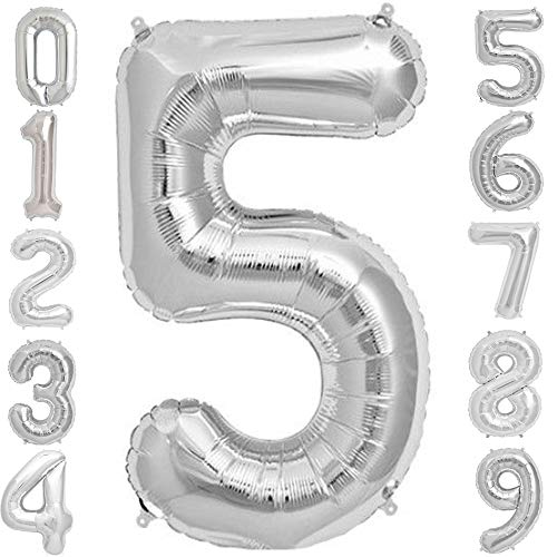 Tellpet Silver Number 5 Balloon, 40 Inch]()