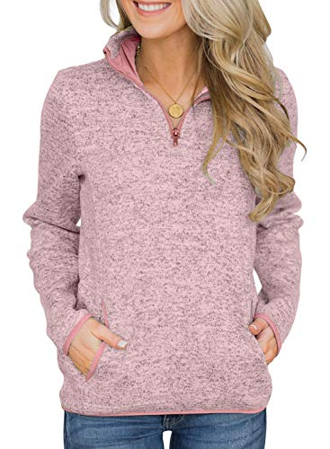 AlvaQ Womens Fall Casual Long Sleeve Sweatshirt 1/4 Zip Loose Pullover Tops with Pockets Pink Large