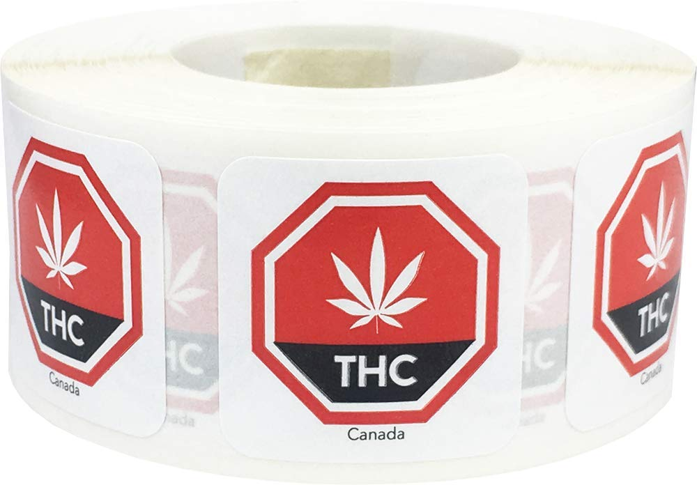 Canada THC Cannabis Marijuana Warning Labels 1 Inch 500 Adhesive Stickers