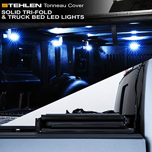Stehlen 733469491163 Solid Tri-Fold Tonneau Cover with Truck Bed LED Lights