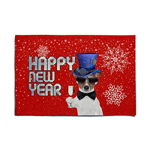 Top New Year Happy Hat (Felt Doormat Cute Dog In Top Hat Wish Happy New Year 2018, 15.5 x 23Inch, Customize 40 x 60cm Red Joyful Felt Bath mat)