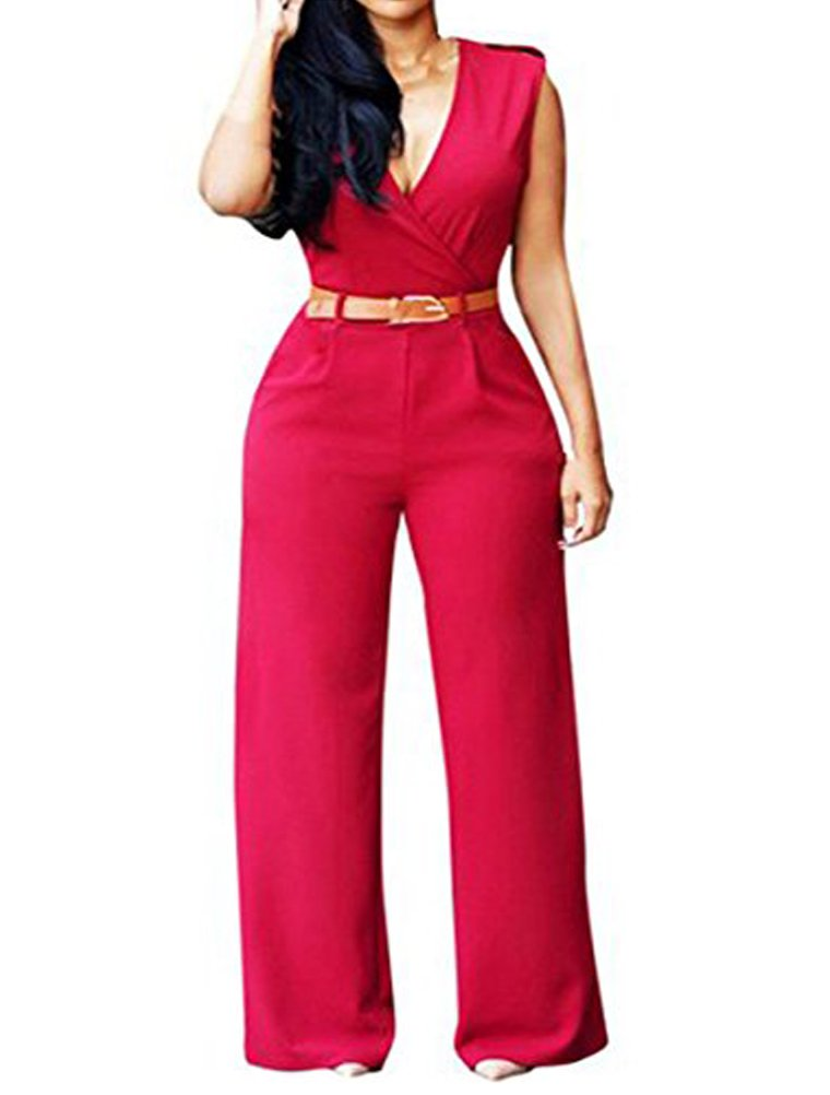LAEMILIA Womens Ladies Chic Overlay Belted Sleeveless Wide Leg Jumpsuit Button Down Top High Waisted Rompers DOK20