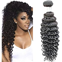 Brazilian Virgin Hair Deep Wave One Bundle 100% Real Brazilian Remy Human Hair 7A Grade Natural Black Color Hair Extensions Mixed Length (20)