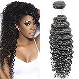 Brazilian Virgin Hair Deep Wave One Bundle 100% Real Brazilian Remy Human Hair 7A Grade Natural Black Color Hair Extensions Mixed Length (20)