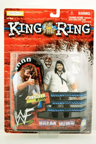 WWF / WWE King of the Ring Series - 1999 - Mankind Action Figure - RARE - Break Down in Your House - Body Twistin' Tire - Jakks - Limited Edition - Mint - collectible ()