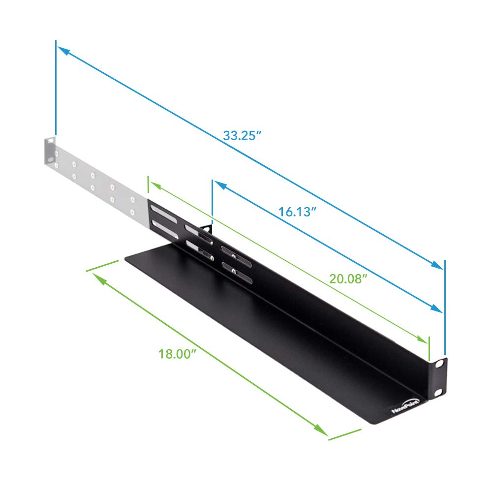 NavePoint 1U Rack Mount 4-Post Shelf Rail for Server - 33.5'' deep 5-Pack