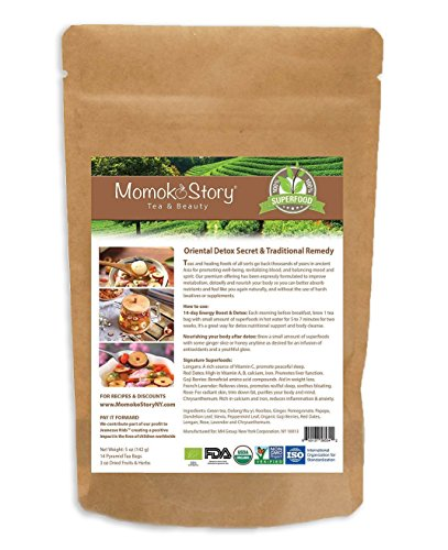 Momoko Story 28-Day Rose Goji Detox Oolong Tea,14 Pyramid Tea Bags & Packet of Nourishing Superfoods to Trim Fat, Boost Energy, Skincare, Non-Laxative, Gentle and Effective