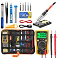 Soldering Iron Kit Electronics, Yome 19-in-1 60w Adjustable Temperature Soldering Iron with ON/OFF Switch, Digital Multimeter, 5pcs Soldering Iron Tips, Desoldering Pump, screwdriver, Tweezers, Stand