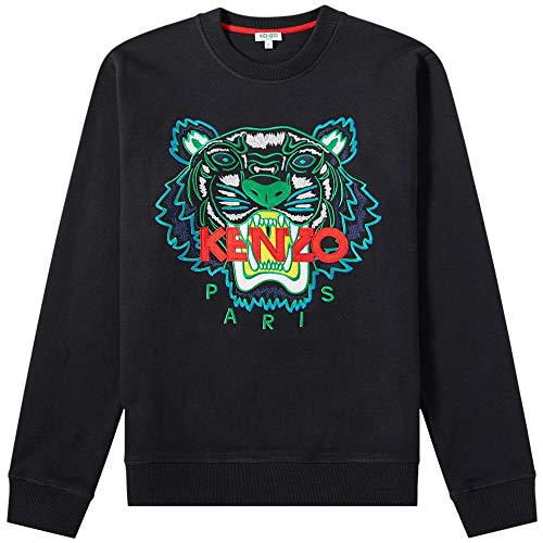 (Kenzo Mens Black Tiger-Embroidered Cotton Sweatshirt (L))