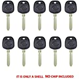 New Replacement Transponder Blank Key Case Shell for Toyota - TR47 (10 Pack)